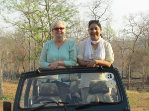 Photo of Pam with a local tour operator and friend — India